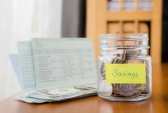 budgeting, savings and money planning - stock photo