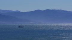 Ship on Suruga Bay in Shizuoka Prefecture, Japan Stock Footage