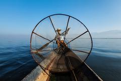 Burmese fisherman at Inle lake, Myanmar - stock photo