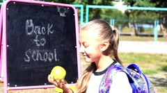 Young small schoolgirl Stock Footage