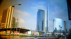 New district of Porta Nuova Garibaldi,Milan, time lapse,4k Stock Footage