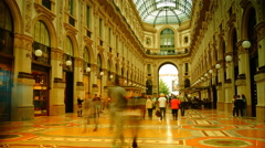 View of Galleria Vittorio Emanuele II in Milan,time lapse,4k Stock Footage