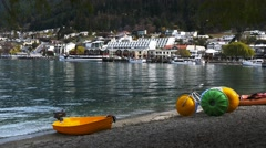 queenstown waterfront and watercraft - stock footage