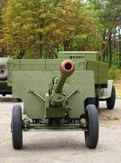 soviet 76mm cannon gan zis3 and army truck zis5,(ural) taken closeup. - stock photo