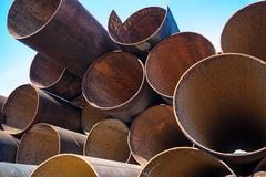 metal pipes stack - stock photo