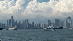 Panama: City skyline from Amador Causeway Stock Footage