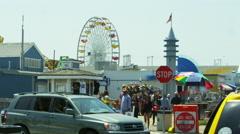 Santa Monica Ferris Wheel Los Angeles Rides Beach LA Slow Motion 4K Stock Footage