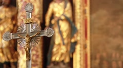 Cross in a church Stock Footage