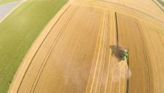 Aerial of a harvested grainfield Stock Footage