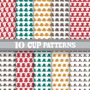 Seamless patterns with coffee cups, for invitations, cards, scrapbooking, print Stock Illustration