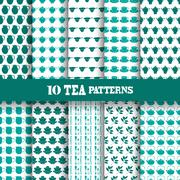 Seamless patterns with tea objects, for invitations, cards, scrapbooking, print Stock Illustration