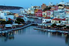 agios nikolaos city at night, crete, greece - stock photo