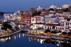 Stock Photo of agios nikolaos city at night, crete, greece