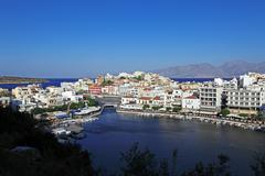 agios nikolaos city, crete, greece - stock photo
