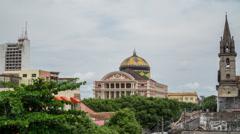 Establishing shot Time lapse with Amazon theatre in Manaus Stock Footage