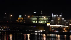 Night view of Moscow International House of Music. Stock Footage