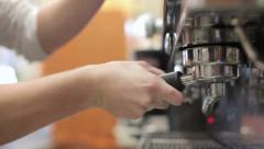 0460 Preparing fresh expresso in a bar with coffee machine Stock Footage