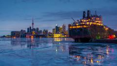 Icy Toronto skyline from dusk to night in time-lapse - stock footage