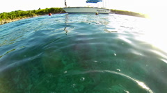 Captian on the waters of the Virgin Islands Stock Footage