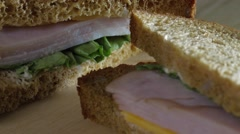 Ham Cheese Lettuce Sandwich on Whole Wheat Stock Footage