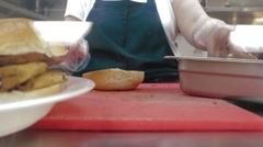 Stock Video Footage of Making an Eggplant Parmesan Sandwich