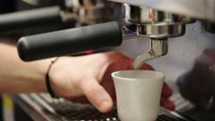 0462 Preparing fresh expresso in a bar with coffee machine Stock Footage