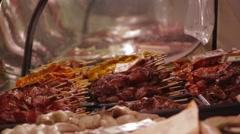 Kebabs and Meat Skewers Stock Footage