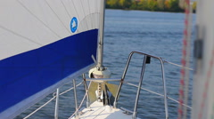 Sailing yacht on river, POV. Active rest, tourism, recreation Stock Footage