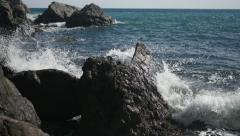 Sea waves rocks uhd 4k Stock Footage