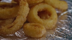 Deep Fried Onion Rings Stacked Stock Footage