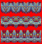 collection of seamless ornamental floral stripes - stock illustration