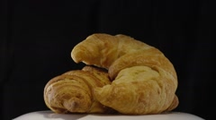Fresh Baked Croissants Stock Footage