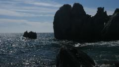 Sea waves rocks uhd 4k // Море камни волны 4к крым Stock Footage