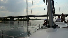 Team on deck of sailing yacht. Yachting, extreme sport, tourism Stock Footage