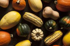 organic assorted autumn squash - stock photo