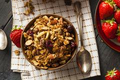 healthy homemade granola with nuts - stock photo