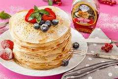 pancakes and original canadian maple syrup - stock photo