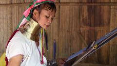 Karen Long Neck in Hill Tribe Village, Chiang Mai, Thailand Stock Footage