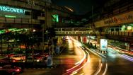 Stock Video Footage of Time lapse of Night congested traffic in Bangkok, Thailand