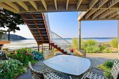 Backyard patio area with puget sound view, burien, wa Stock Photos