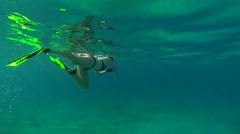 girl snorkling in the USVI - stock footage