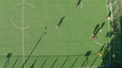 Amateur football, aerial shot of players running on the field Stock Footage