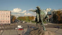 Aerial shot of monument to Ukrainian leader, beautiful cityscape Stock Footage