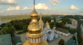Aerial view of church with golden domes and magnificent city HD Footage