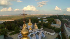 Golden domes of cathedral, beautiful cityscape, view from above Stock Footage