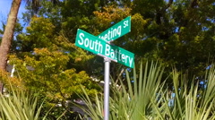The street corner of South Battery St. and Meeting St. in downtown Charleston  Stock Footage