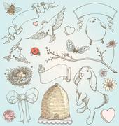 Hand Drawn Vintage Spring Elements Vector Set Stock Illustration