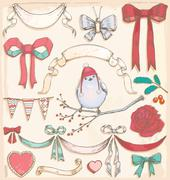 Hand Drawn Vintage Holiday Bird, Ribbons and Bows Vector Set - stock illustration