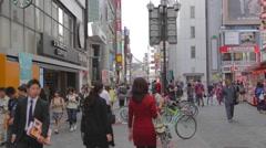Dotonbori pedestrians in front of Starbucks tsutaya Stock Footage