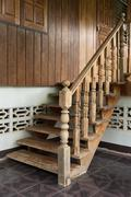wood staircase, banister carving wooden thai style - stock photo